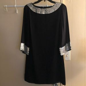 Alice + Olivia Sequin Trim Shift Black Dress
